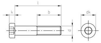 Чертеж DIN 7984 Винт нержавеющий с низкой цилиндрической головкой и внутренним шестигранником