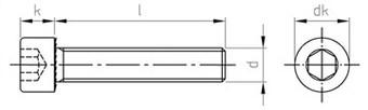 Чертеж DIN 912 FT Винт нержавеющий с цилиндрической головкой и внутренним шестигранником, полная резьба