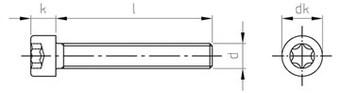 Чертеж DIN 912 Винт нержавеющий с цилиндрической головкой шлиц TORX