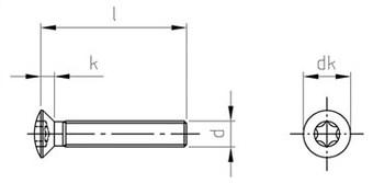 Чертеж DIN 966 TX Винт нержавеющий с полупотайной головкой шлиц TX (TORX)