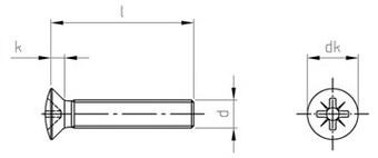 Чертеж DIN 966 Z Винт нержавеющий с полупотайной головкой крестообразный шлиц PZ (POZIDRIV)