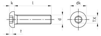 Чертеж ISO 7380 7380-1 TORX Винт нержавеющий с полукруглой головкой , полная резьба