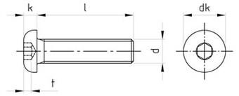 Чертеж ISO 7380 7380-1 Винт нержавеющий с полукруглой головкой и внутренним шестигранником, полная резьба