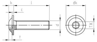 Чертеж ISO 7380 7380-2 TORX Винт нержавеющий с полукруглой головкой c прессшайбой, полная резьба