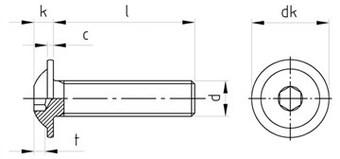 Чертеж ISO 7380 7380-2 Винт нержавеющий с полукруглой головкой и внутренним шестигранником c прессшайбой, полная резьба